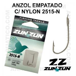 ANZOL ZUN ZUN EMPATADO 2515-N Nº 12 NICKEL - LINHA NYLON - 0.22mm - C/ 10 PCS