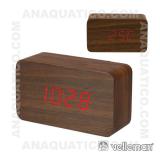 Relógio de Madeira Com Calendário e Temperatura VELLEMAN