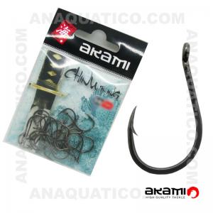 ANZOL AKAMI CHINU RING HIGH CARBON Nº 1/0 BLACK NICKEL C/ 20 PCS