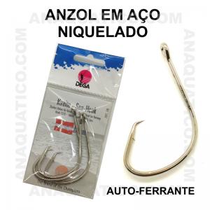 ANZOL DEGA  7371 AÇO NIQUELADO AUTO-FERRANTE Nº 8/0 C/ 3 PCS