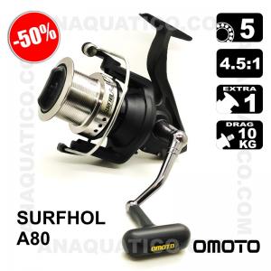 CARRETO OMOTO SURFHOL A80 BB 5 / Drag 10Kg / R 4.5:1