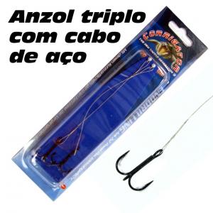 ANZOL TRIPLO COM CABO DE AÇO Nº1/0 BLACK NICKEL