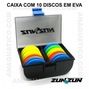 CAIXA ZUN ZUN CPB 10 COM 10 DISCOS EM EVA  - 10 X 15 X 7 CM